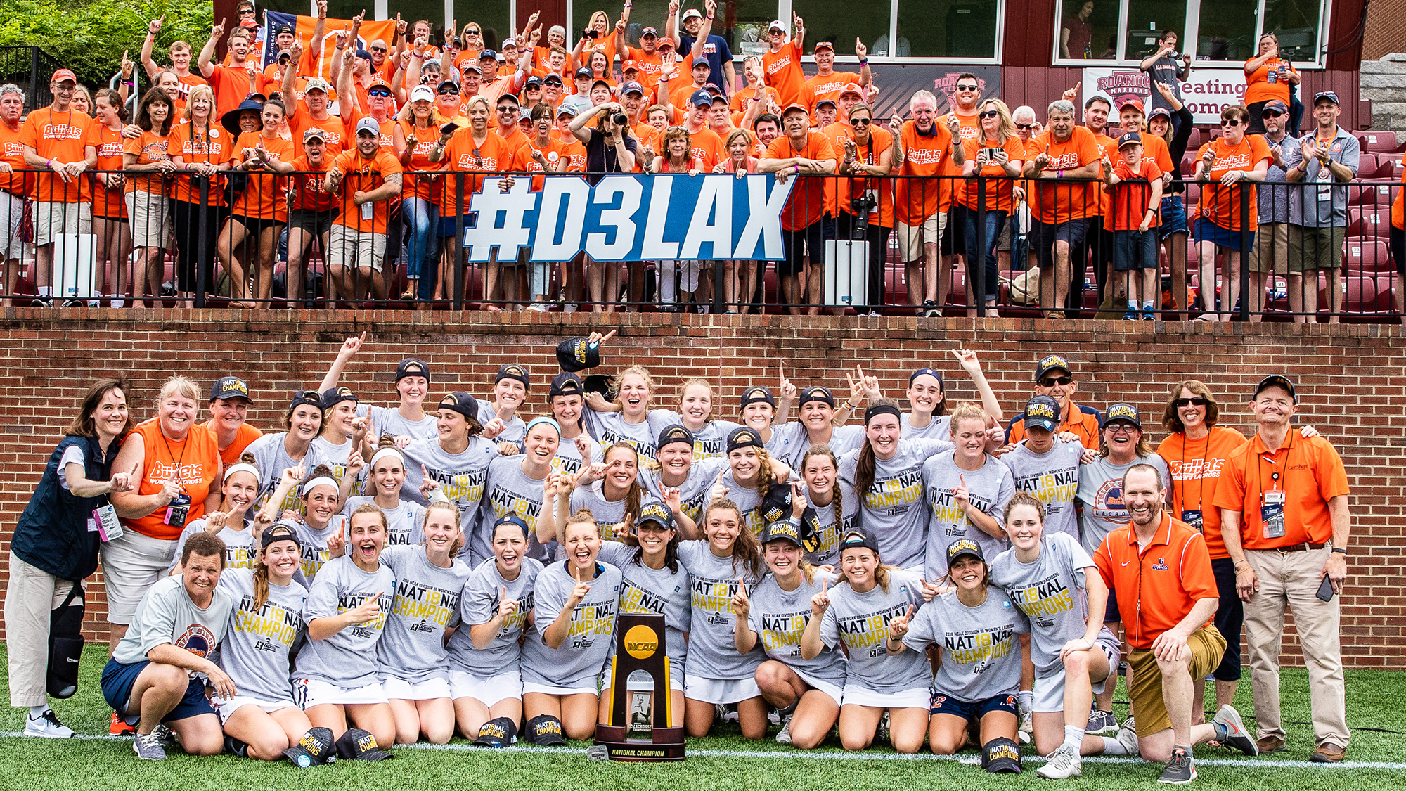 2018 Womens Lacrosse with national champion team and family